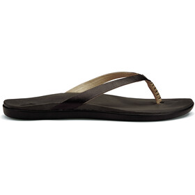 OluKai W's Hoopio Leather Sandals Onyx/Black